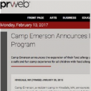 PRWeb - Camp Emerson Announces Expansion of Food Allergy Program